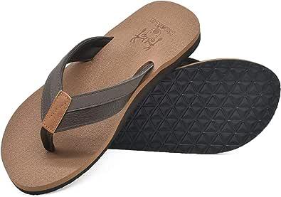 KuaiLu Mens Flip Flops Arch Support Lightweight Cushioned Yoga Foam Summer Holiday Beach Sandals Soft Fabric Shower Non-Slip Thongs