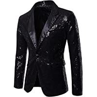 Men's Long Sleeve Sequins Blazer Casual Business Wedding Shiny Jackets Buttons Slim Fit Suit Coat Jacket