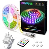 LED Strips Lights, MYPLUS 5M Led Colour Changing Light Strips with Remote,Safety Low Volte Power Adapter, 150 pcs Bright RGB