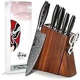 XINZUO Ensemble de Couteaux 7 Pièces en Acier Damas,Bloc de Couteaux,Professionnel Couteau de Chef Santoku Trancher Universel
