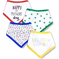 TuddyBuddy Colorful Bandana Drool Bibs for 0-6 Months Baby Boy & Baby Girl, 100% Cotton Double Layer, Adjustable (Pack of 4 - Bandana Bibs - Colorful Borders, 0-3 Months)