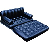 Generic Bestway Plastic 5 in 1 Inflatable Three Seater Queen Size Sofa Cum Bed with Electric Pump (Black)
