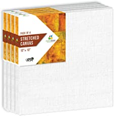 "HomeStrap 10 oz Primed Cotton Pre Stretched Canvas with Wooden Frame 12""X12"" – Pack of 4"