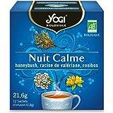 Yogi Biologique Nuit Calme, Infusion 100% Bio Honeybush, Valériane et Rooibos, 12 Sachets thermosoudés et sans agrafe, 21.6 g