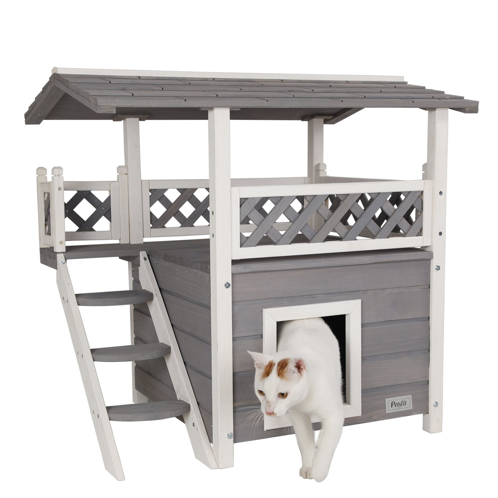 Petsfit Indoor Cat House Cat House With Stairs And Balcony Small Animal Animal Shop
