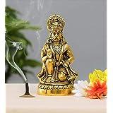 Prince Home Decor & Gifts Hanuman ji Statue Sitting in Metal Hanuman ji Idol Bajrangbali Murti Gift Article Decorative Showpi
