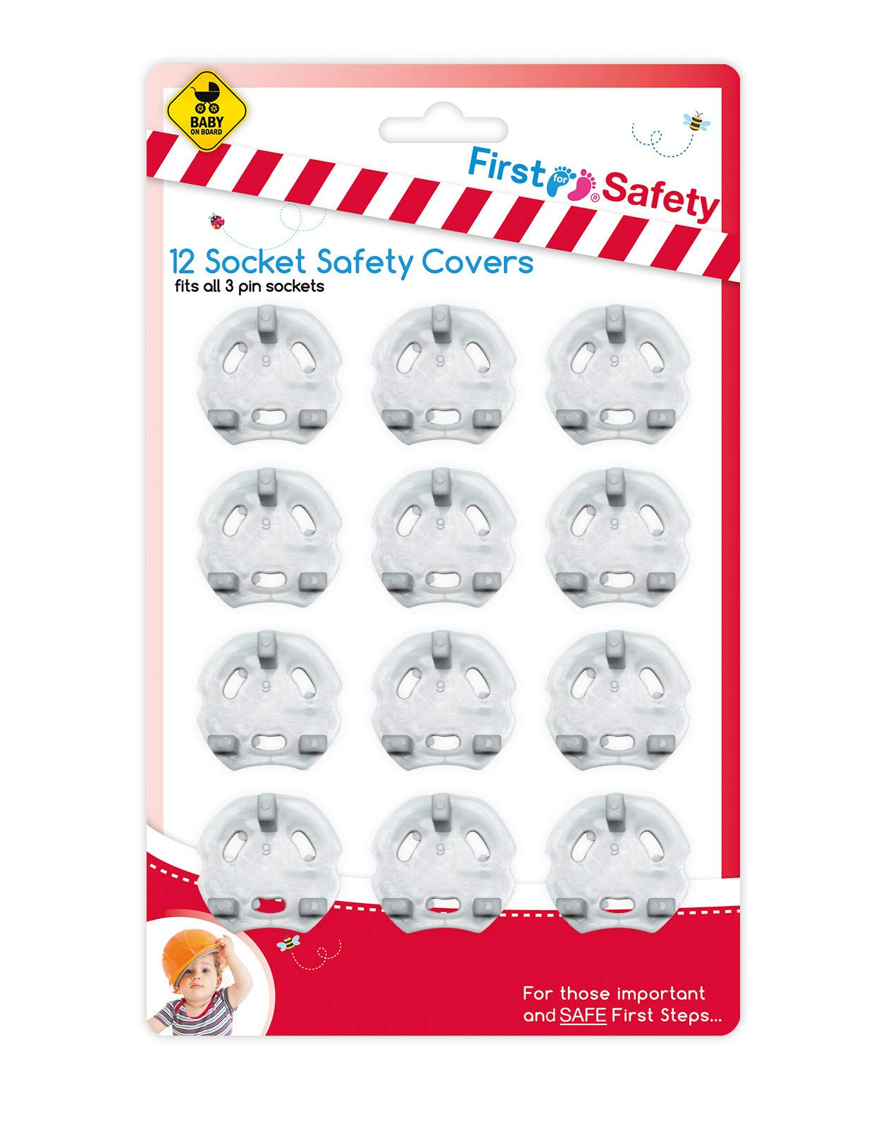 12 Home Safety Plug Socket Covers Baby /& Child Proof Protector Guard Easy to Use