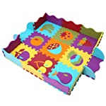 MQIAOHAM Kids Floor Mat Multicolor Exercise EVA Foam Mats for Kids Play Area Puzzle Tiles Baby Puzzle Interlocking Soft...