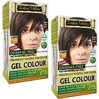 INDUS VALLEY Damage Free Gel Colour Permanent Herbal Hair Colour Medium Brown 4.0 Kit (20g*2=40g,200ml*2=400ml)