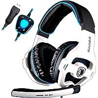 SADES SA903 Gaming Headset Casque 7.1 USB Surround Sound Stereo Pro PC Casque de pc d'écoute USB Casque de gaming d'écoute avec microphone Micro en profondeur Contrôle de volume sur l'oreille Éclairage LED pour PC Gamers (Blanc)