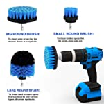 Scrub Brush Attachment 3 Pack kit, Blue All Purpose Power Heavy Duty Stiff Bristle Cleaning Scrubbing Brushes for...