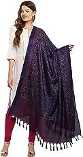 Applecreation Women's Khadi Silk Dupatts with jhallar (freesize_Blue_KHDPT107D)