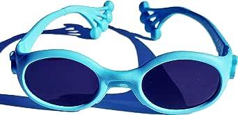 Animals Sunglasses Froggy, occhiale protezione sole bambino da 6 mesi a 1, 2, 3 anni, lenti pc INFRANGIBILI UV 400 categoria 3 e 4, montatura pieghevole e indistruttibile (no viti), Made in Italy
