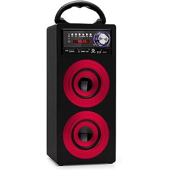 Beatfoxx Beachside BS-20BTR portabler Bluetooth-Lautsprecher tragbare Akku-Lautsprecherbox (USB/SD-Anschlüsse, UKW-Radio, AUX, Tragegriff, Fernbedienung) rot