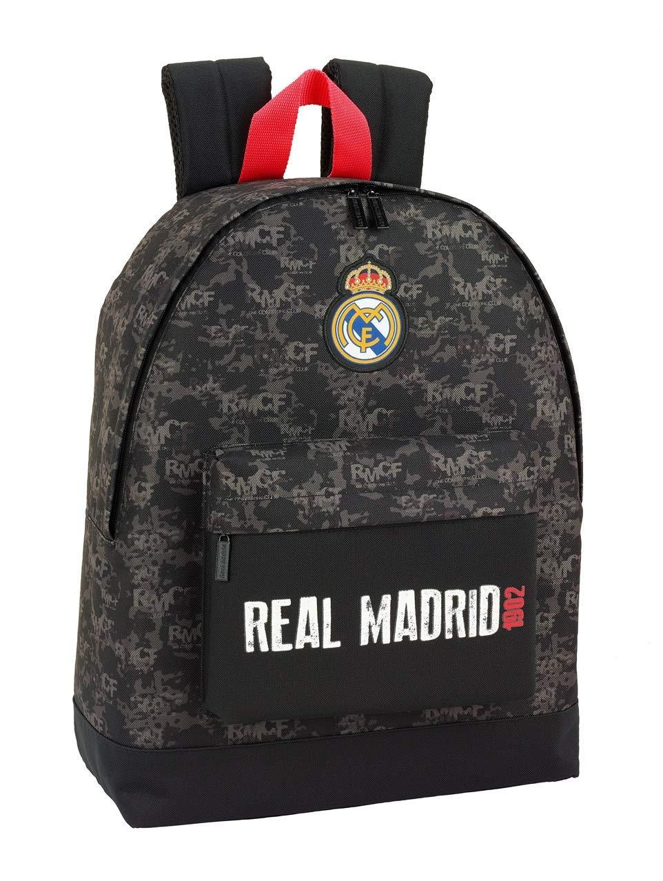 71eJ8lp3DML - Real Madrid CF Mochila Grande con Funda Ordenador, Negro, 43 cm