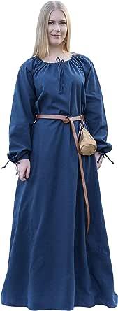 Battle-Merchant Mittelalter Kleid Ana Damen   Wikinger Kostüm Langarm bodenlang Baumwolle   LARP Gewandung, Weiß, Rot, Blau, Natur