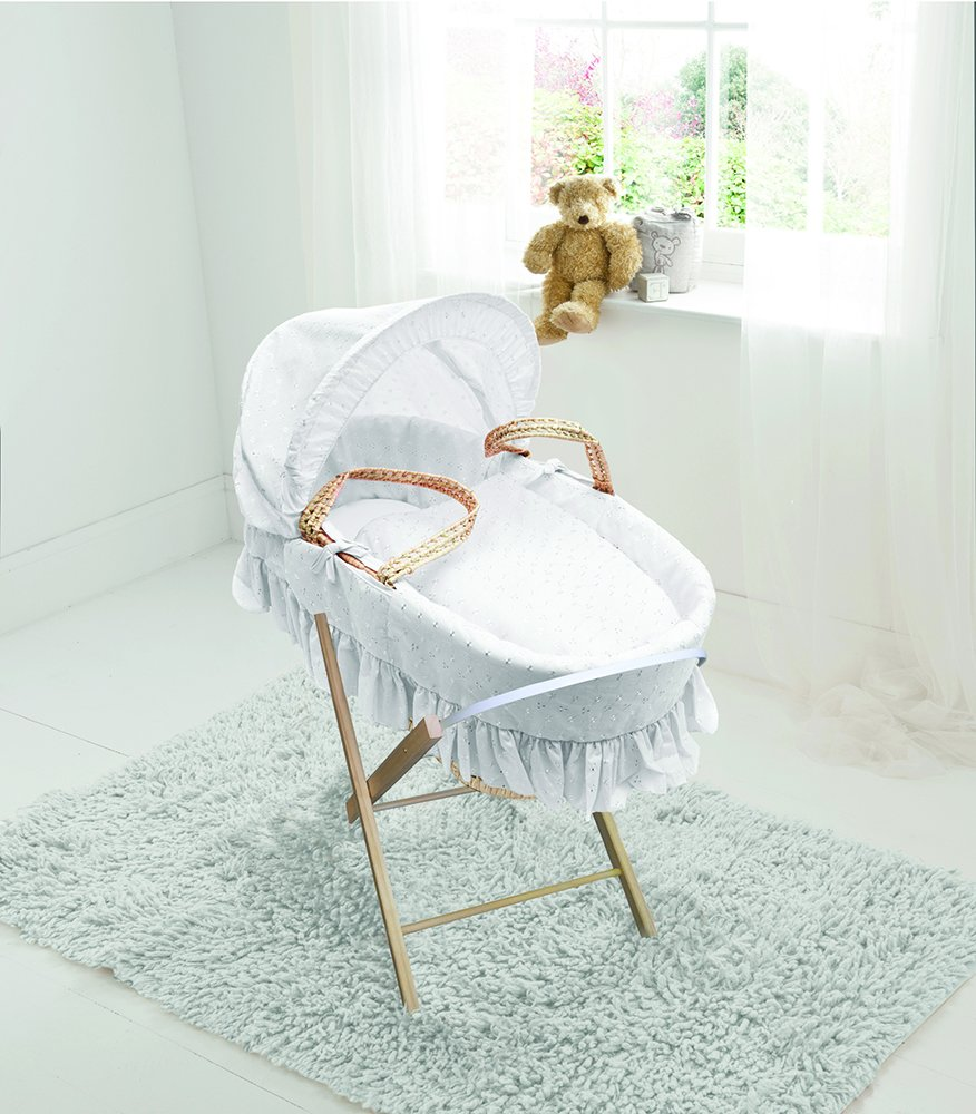 White Broderie Anglaise Palm Moses Basket & Folding Stand Elegant Baby Suitable from newborn for up to 9kg, this Moses Basket uses Easy-care Poly Cotton with a soft padding surround Suitable from newborn to 9 months It also includes a comfortable mattress and an adjustable hood perfect to create a cosy sleeping space for your precious little one 1