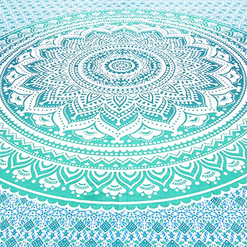 EYES OF INDIA - QUEEN GREEN OMBRE MANDALA WALL HANGING TAPESTRY BEDSPREAD Beach Blanket Decor