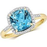 Anello da Donna Mazzo Oro giallo 9k e Diamante Brillante 0.12 Carat con Topazio WJS10911
