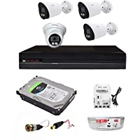 CP Plus 4 Channel H.265+ DVR with 2.4 MP Guard+ Colorful View in Dark 3 Bullet 1 Dome Camera Combo Kit with (4Ch Usewell SMPS, 1TB HDD, 90Mtr Cable Usewell & Connectors) CCTV Security Camera Set