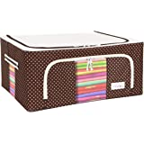 BlushBees® Living Box - Storage Boxes for Clothes, Saree Cover Bags - 44 Litre, Pack of 1, Polka Dot Brown
