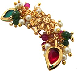 9blings Maharashtrian Collection Pearl Multicolor Gold Plated Piercing Nose Ring for Women