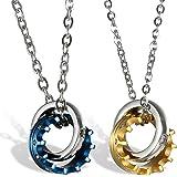 OIDEA Collana per Coppia Lovers Collana Acciaio Inox Pendente Anello Corona Imperiale Mosaico zircone Regalo San Valentino(1