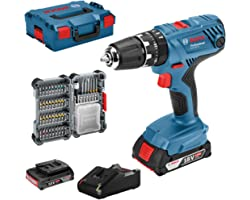 Bosch Professional 18V System accuschroefklopboormachine GSB 18V-21 (incl. 2x 2,0 Ah accu, 40-delige accessoireset, in L-BOXX
