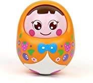 Popsugar Push and Shake Tumbler Doll with Happy Face and Sounds Toy for Kids, Orange