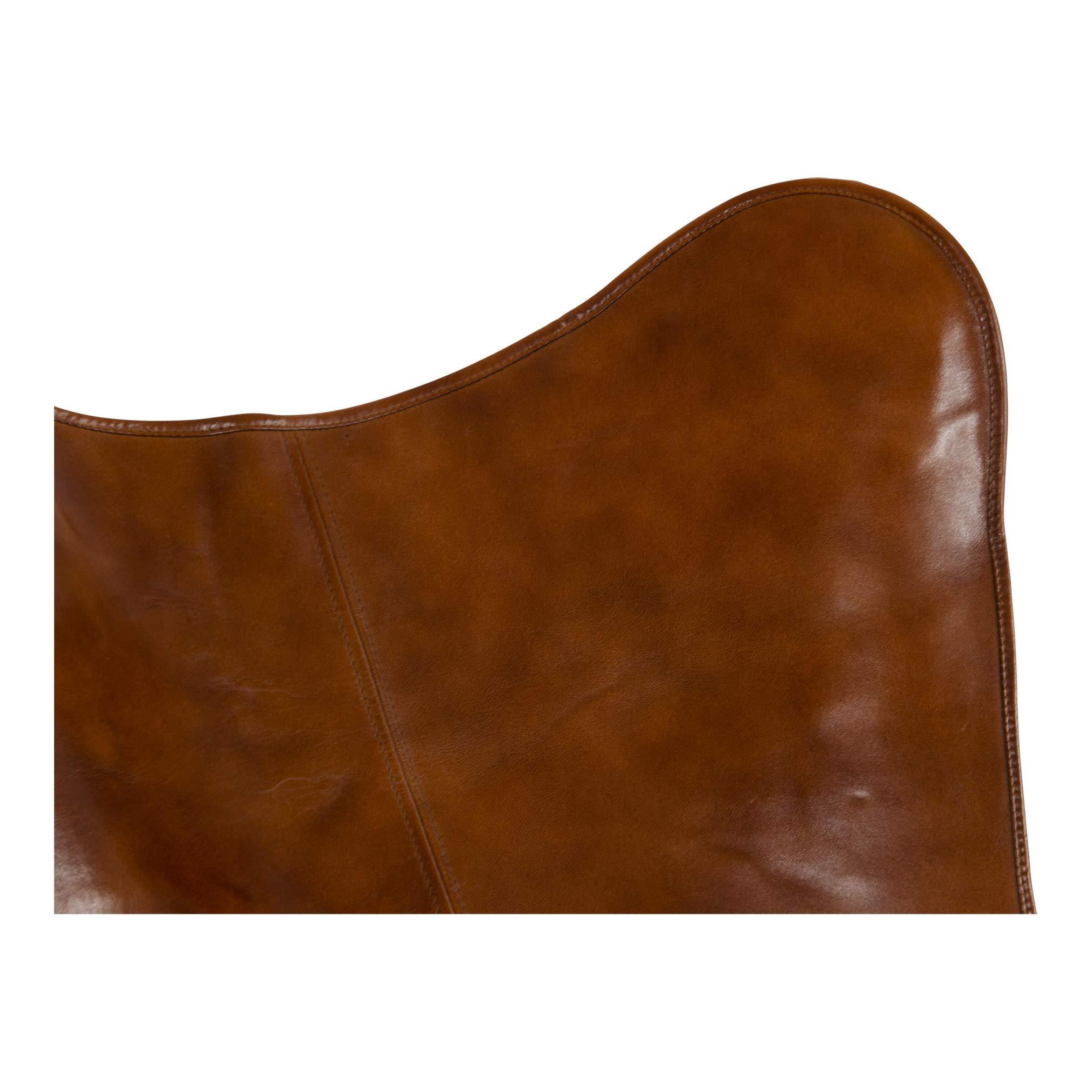 Lesli Living Schmetterlingsstuhl Faltstuhl Butterfly Chair braun 75x75x87 cm Leder