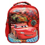 Happile Red and Black Fabric Backpack