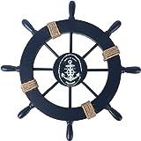 Rosenice Décoration murale à suspendre Roue de bateau en bois nautique, bois, noir foncé