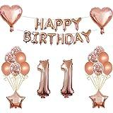 Oumezon 11 verjaardag meisje decoratie roze goud, 11e verjaardag decoratie voor meisjes jongens Happy Birthday slinger banner