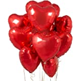 Party Propz 5 pcs 18inches Red Heart Balloons, Heart shaped Balloons foil Love Balloons for Valentine Decoration /Wedding / B