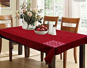 Kuber Industries Cotton Dining Table Cover 6 Seater   Maroon