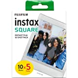 Fujifilm instax SQUARE Film Pellicola Istantanea, Formato Quadrato, 62x62 mm, ISO 800, Confezione da 10x5 Foto, Bordo Bianco