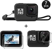 Deyard Kit Accessori per GoPro Hero 8 con Custodia Protettiva in Silicone + 4 Screen Protector in Vetro Temperato Ultra Trasp