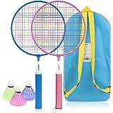 Powcan Badminton Set per Bambini Leggero Badminton Kit per Bambini Badminton Giocattoli con 2 Badminton e 3 volani