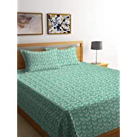 Klotthe Cotton Double Bed Cover with 2 Pillow Covers (225×260 cm, Green)