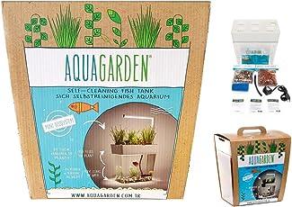 Aquarium-Komplettset inkl. LED-Lampe - AquaGarden - selbstreinigendes Aquarium mit Mini-Garten - innovatives & dekoratives Ökosystem für Pflanzenwachstum und Fischhaltung