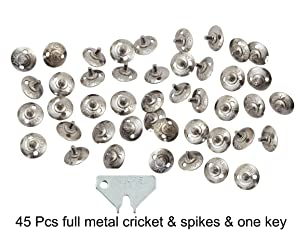 Lauris Cricket Full Metal Spikes with Key (Pack of 45)