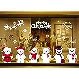 heekpek Navidad la Decoración Pegatinas de Pared Decorativos Pegatina de Muñecos de Nieve Pegatina Oso Navidad Seis Osos Vent