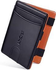 WinCret Geldbeutel Männer Slim Magic Wallet - Leder Klein Geldbörse Herren mit Reißverschluss-Münzfach - RFID-Schutz Kleines Portemonnaie Mini Portmonaise Geschenk