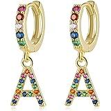 Qings Pendientes Letras para Niñas Mujeres, Pendientes aros con Colgante Iniciales A-Z Circonitas Colores 925 plata de ley Pe