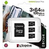 Kingston Canvas Select Plus Tarjeta microSD, SDCS2/64GB-3P1A Class 10 (3X Tarjetas,SD con Adaptador SD)