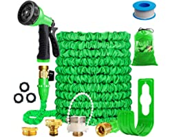 """Running Bulls 100feet Expandable Garden Hose, Expanding hose pipes With Mixer Tap Connector/Hose Hanger/Storage Bag/ 3/4"""" Sol"""