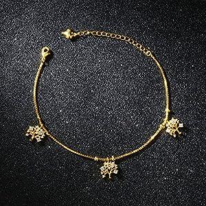 ccxx Süß Fußkettchen Microset Kreativ Baum des Lebens Fußkettchen 18 Karat Gold Gefüttert Teint Temperament Freundinnen Fußring