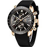 Relojes Hombre BENYAR Cronógrafo Analógico Cuarzo 3bar Impermeable Silicona Deportivo Diseño Casual de Negocios Relojes de Pu