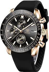 Montre Homme BY BENYAR Chronographe de Mouvement à Quartz 30M étanche Date Analogique Montres Cuir Bracelet Militaire de Sport de Mode Cadeau Elegant