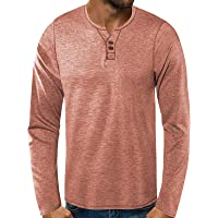BIBOKAOKE Maglietta da uomo a maniche lunghe con scollo a V, stile basic, slim fit, a maniche lunghe, stile patchwork…